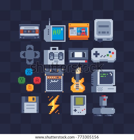 Pixel art flat icons set. Retro technology, computer, joystick, cassette, tape recorder. Retro style 80s. Accessories for consoles. Design apps. Game assets. Isolated abstract vector illustrations.
