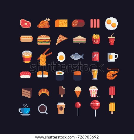 pixel art food spites icons set, vector illustration.