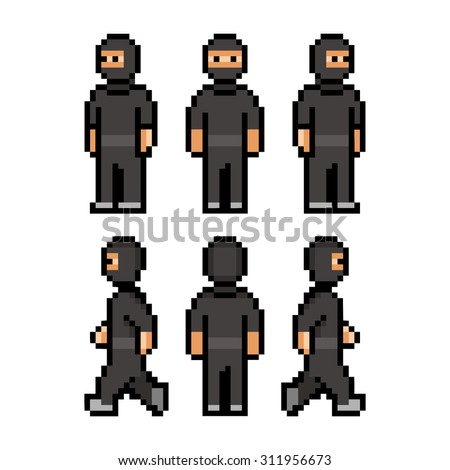 pixel art funny black ninja for