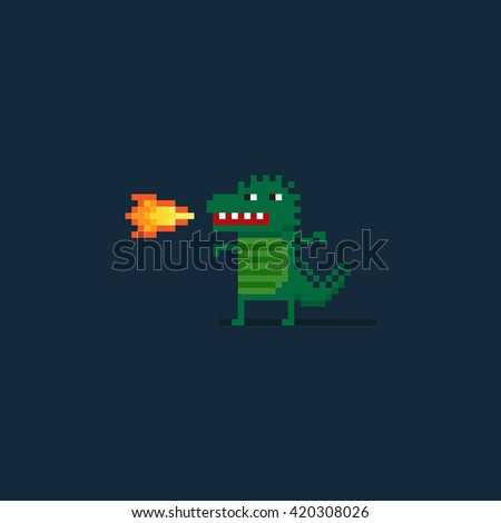 pixel art funny dragon