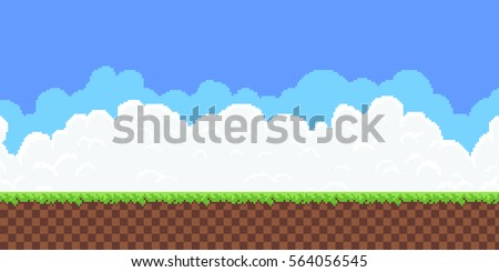 Pixel art game background with ground, grass, sky and clouds