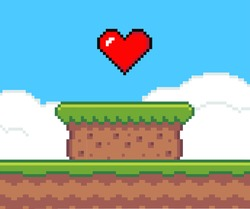 Pixel art game background with heart in the sky. Pixel art game scene with green grass platform stands on the ground against a blue sky and big red heart. Pixel style landscape vector illustration