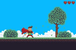 Pixel art game background with superhero character, ground, grass, sky, clouds, tree, bushes and hearts