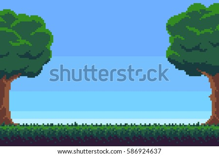 Pixel art game background with trees and grass