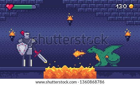 Pixel art game level. Hero warrior fights 8 bit dragon, pixels video games levels scene landscape and retro gaming. 2d pixel knight, arcade or runner game battle vector illustration