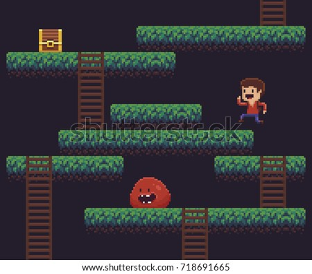 Pixel art game scene with grass platforms, ladders, slime enemy, happy running male character and treasure