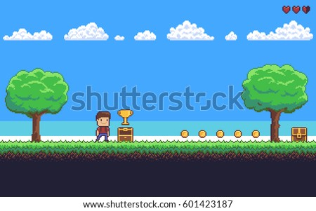 pixel art game scene with