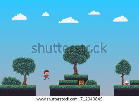Pixel art game scene with ground, grass, trees, sky, clouds, treasure chest, health potion and jumping character