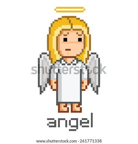 pixel art girl angel