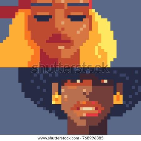 pixel art girls characters