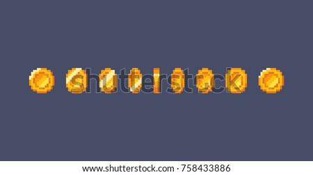 Pixel art gold coin animation. Vector illustration