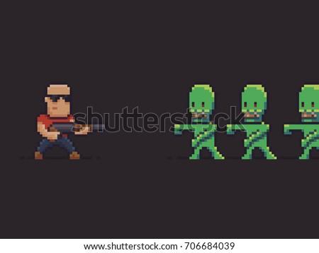 pixel art guy with shotgun