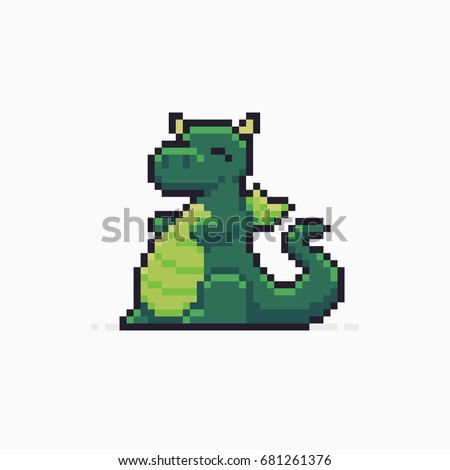 Pixel art happy cute dragon character on white background