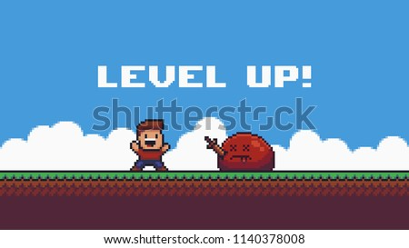Pixel art happy male character and defeated slime enemy with wooden sword in it's body on summer background with clouds and grass