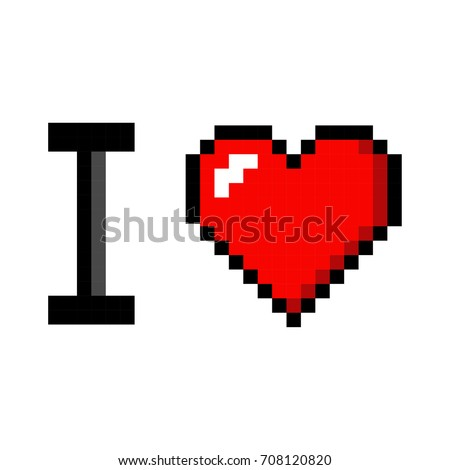 Pixel art heart I love you color icon valentine