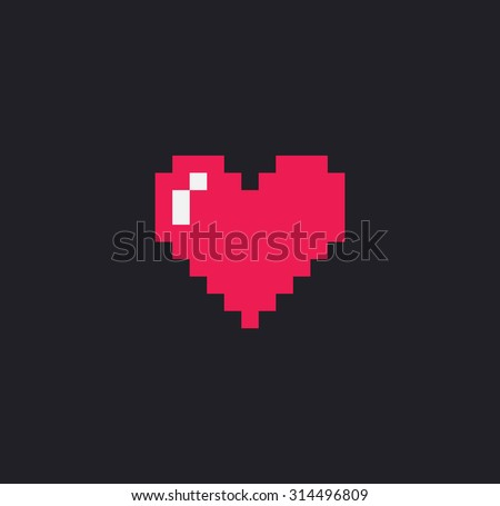 pixel art heart isolated on