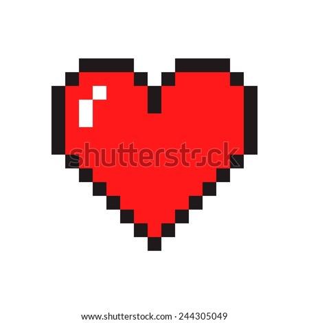 pixel art heart isolated on