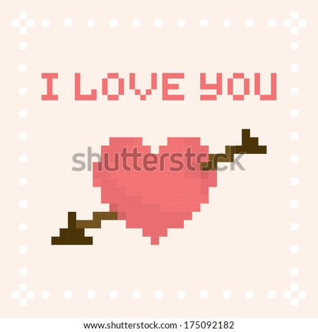 pixel art i love you valentine 39 s day vector card 175092182 shutterstock. Black Bedroom Furniture Sets. Home Design Ideas