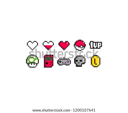 pixel art icon set inspired by