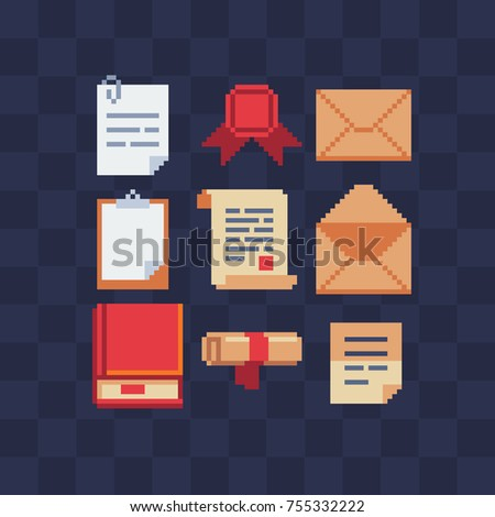 Pixel art icon set. Letter, tablet, book, sheet and scroll of paper.  Stickers design.  Isolated vector illustration. 8-bit sprites. Old school computer graphic style.