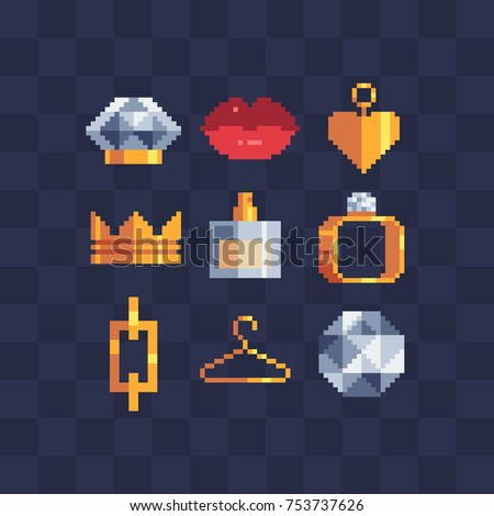 Pixel art icon set. Women's accessories. Crown, lips, ring, diamond, perfume, hanger and pendant. Knitted design.  Isolated vector illustration. Old school computer graphic style.