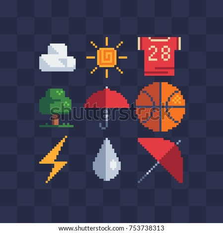 Pixel art icon stickers set. Knitted design. Sun, cloud, sports t-shirt, basketball, tree, drop and umbrella. Isolated vector illustration. Retro video game sprite.