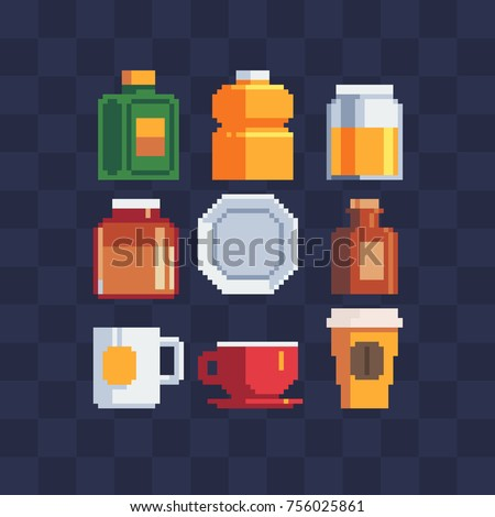 Pixel art icons set. Bottle,  glass, plate and mug. Sticker design pack. Isolated vector illustration. 8-bit sprite. Old school computer graphic style.