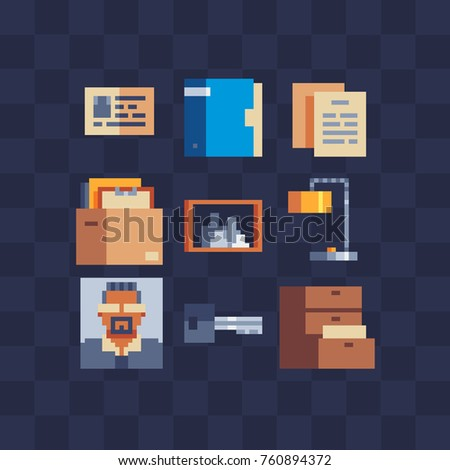 Pixel art icons set. Box with documents, table lamp, avatar businessman, key, folder. Arrangement of office. Pixel art style. 8-bit. Video game sprite. Isolated vector flat illustration.