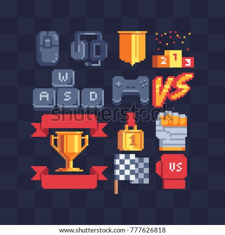 pixel art icons set computer