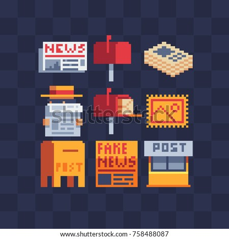 Pixel art icons set. Newspaper, mailbox, post office and postage stamp. Sticker design pack. Isolated vector illustration collection. Video game sprite. 8-bit. Isolated vector illustration.