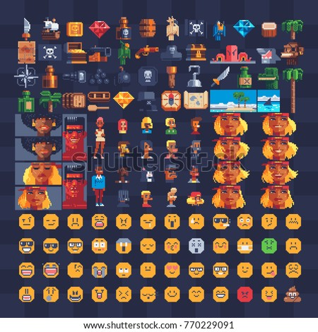 pixel art icons set pirate