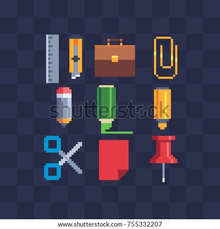 Pixel art icons set. School stationery. Business accessories. Knitted design.  Isolated vector illustration.  8-bit sprite. Old school computer graphic style.