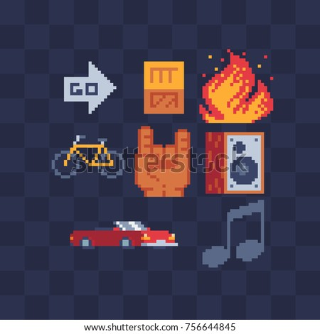 Pixel art icons set. Sub woofer, rock & roll hand sign, cabriolet, fire and bike. Sticker design pack. Isolated vector illustration collection. Video game sprite. 8-bit.
