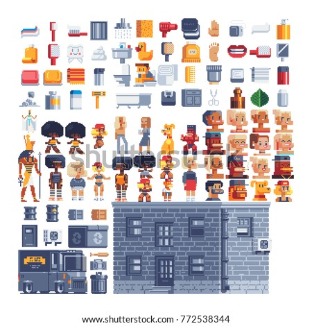 Pixel art icons set. Theme of hygiene. Bathroom items. Video game characters. Air conditioner, garbage container, safe and truck. Brick house. Isolated vector illustration. Stickers design. 8-bit.