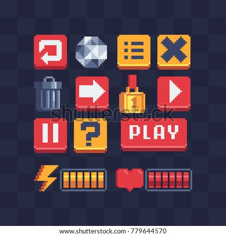 Pixel art icons set. Video game achievements. Options items. Game UI options. Trash basket. Battery charge. 8-bit sprites. Game assets. Isolated  abstract vector illustration.