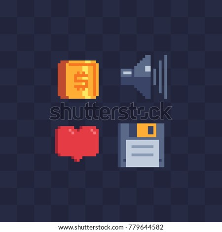 Pixel art icons set. Video game options items. Gold coin dollar, speaker, heart and diskette. Design of mobile apps. Isolated abstract vector illustration