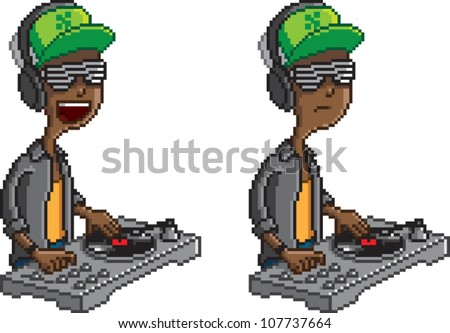 Pixel art illustration of a DJ scratching a record on a turntable, isolated on white. Includes two poses, one laughing, and one serious.