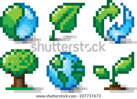 Pixel art illustration of various icons relating to nature and environmental conservation. Isolated on white.