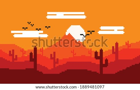 pixel art image of desert  hot