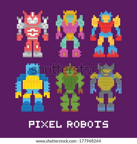 pixel art isolated robots
