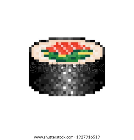 Pixel art maki roll icon. Pixelated sushi roll with seafood and seaweed.  Salmon sushi roll in retro style. Mosaic maki roll with fish and cucumber. Vector.