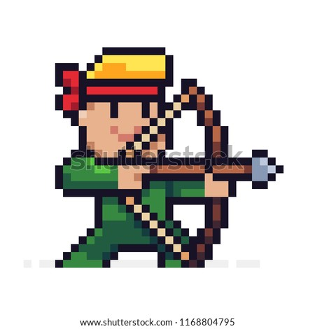Stock Photo Pixel art male archer character aiming for target