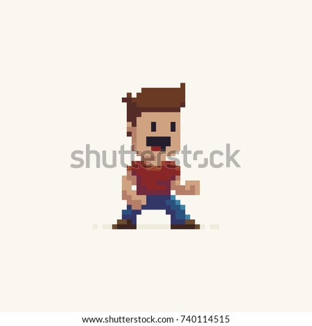 pixel art male happy game