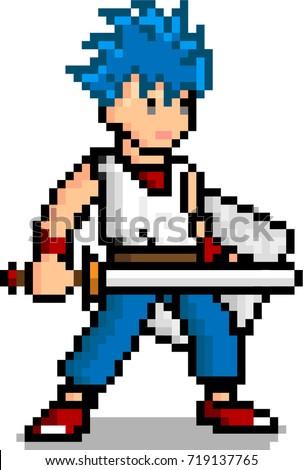 pixel art male sword man