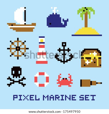 pixel art marine isolated