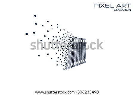 pixel art movie logo on white
