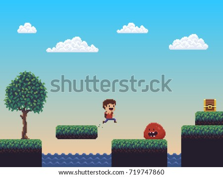 pixel art nature game scene
