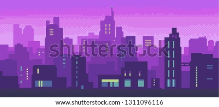 pixel art neon night city with