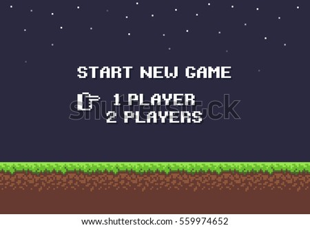 Pixel art night game background with grass, dirt, stones, sky and start new game 8-bit text