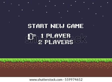 pixel art night game background
